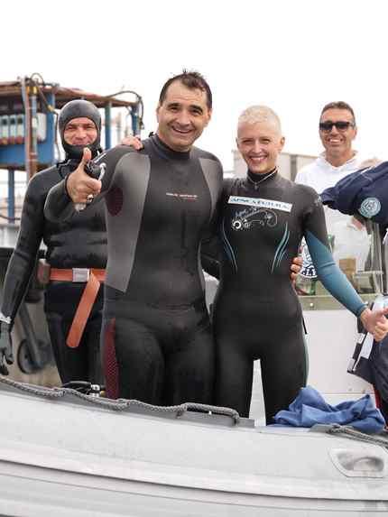 Paola Negrini e Tommaso Bugnoni sorridenti dopo il tentativo riuscito (foto F. Fiori)