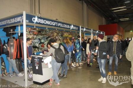 Lo stand di CarbonioGFT all'ultimo Eudi Show (foto S. Rubera - Apnea Magazine)