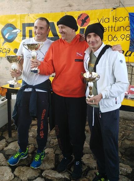 Il podio con La Mantia, Arcieli e Verri