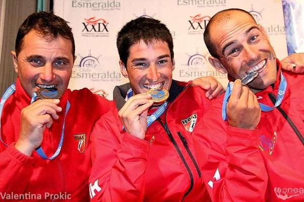 Monopolio spagnolo sul podio. Da sinistra: Lopez, Blanco e Tomas foto (V. Prokic)