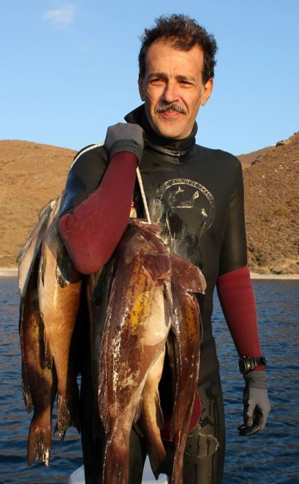 Kambanis is also a first-class spearfisher (photo Facebook)
