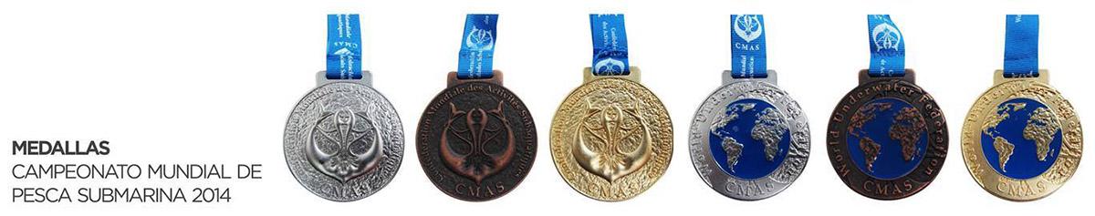 Le medaglie del XXIX° Campionato del Mondo di Pesca in Apnea (foto Facebook)