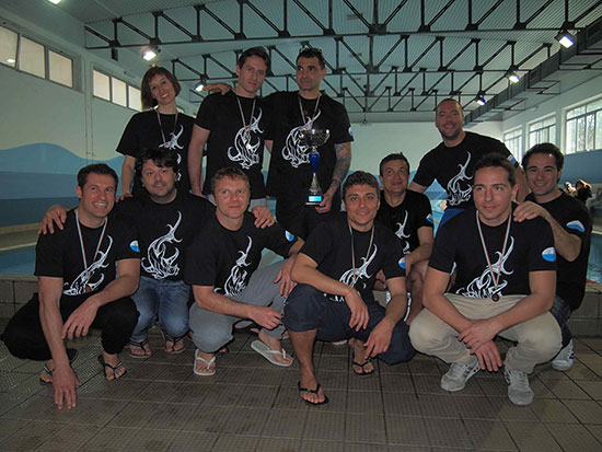 La squadra del Komaros Sub Ancona, prima classificata.