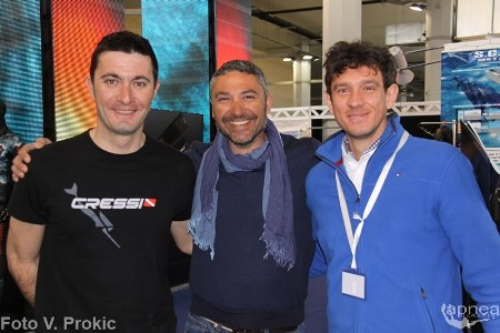 De Mola, a destra, con lo spagnolo Lopez Martin, al centro, e Gospic, a sinistra (foto V. Prokic)