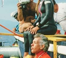 Angela con Jacques prima della discesa per il record