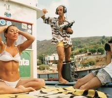 Angela Bandini con Jacques Mayol all'isola d'Elba, 14 Settembre 1985, durante i preparativi per l'immersione che le avrebbe conferito il record femminile di profondità in assetto variabile con - 52 metri