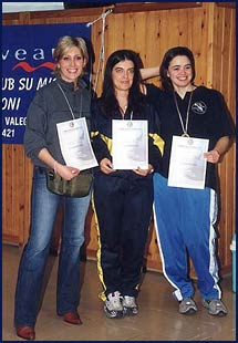 Podio Biathlon Femminile: 2° Carla Bettelli, 1° Paola Violi 3° Linda Vacondio